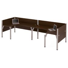 Pro-Biz Double Back-to-Back L-Desk Workstation with 2 Privacy Panels