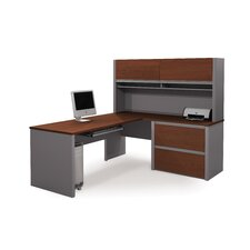 Connexion L-Shaped With Hutch Workstation Kit Including Oversized Pedestal