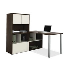 Contempo L-Shaped Writing Desk with Storage Hutch