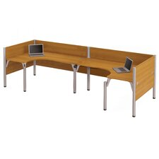 <strong>Bestar</strong> Pro-Biz Double Back-to-Back L-Desk Workstation With 2 Melamine Privacy Panels