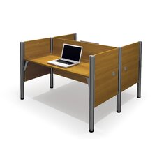 Pro-Biz Double Face-to-Face Workstation With 5 Melamine Privacy Panels