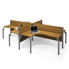 <strong>Bestar</strong> Pro-Biz Four L-Desk Workstation With 4 Melamine Privacy Panels