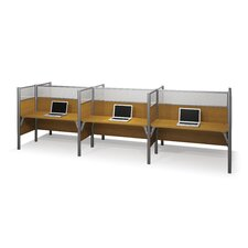Pro-Biz Six-Straight Desk Workstation With 3 Melamine Privacy Panels & 3 Acrylic Glass Privacy Panels (Per Workstation)