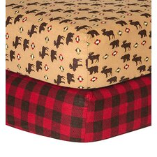 Northwood and Check Print Flannel 2 Piece Crib Sheet Set