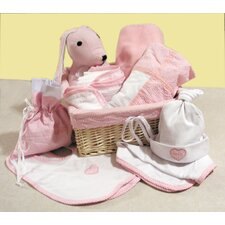 Twelve Piece Deluxe Gingham Seersucker Gift Basket in Pink