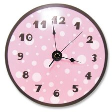 Polka Dots Wall Clock in Pink and Brown