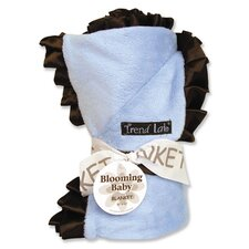 Ruffle Receiving Blanket in Blue and Brown