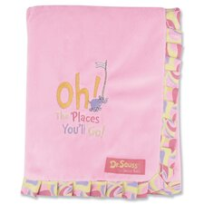 Dr. Seuss Oh The Places You''ll Go Receiving Blanket Ruffle Trimmed
