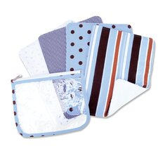 <strong>Trend Lab</strong> Max Zip Pouch Burp Cloth Set in Blue (Set of 4)