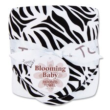 Zebra Bouquet Hooded Towel in Black and White