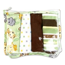 Chibi Zoo Zipper Pouch and 4 Burp Cloths Gift Set