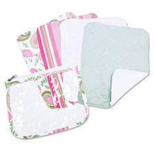 Paisley Zip Pouch Burp Cloth Set in Pink (Set of 4)
