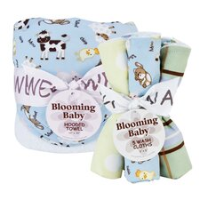 Baby Barnyard Hooded Towel and Wash Cloth - Bouquet Set