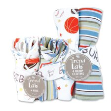 <strong>Trend Lab</strong> Little MVP Bouquet Bib and Burp Cloth (Set of 4)