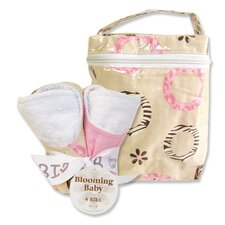 Sweet Safari Pink Bottle Bag and Bib Set