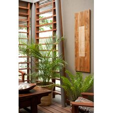 Pura Vida I Shock Wave Teak Panel in Natural with Insert and Gold Waves
