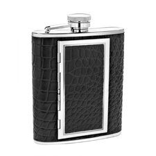 6 Oz. Leather Flask with Cigarette Case
