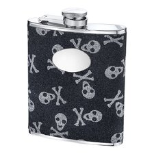 6 Oz. Skull and Bones Glitter Flask