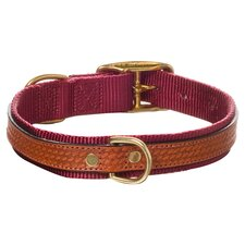Cooper Dog Collar with Antiqued Brown Leather Overlay