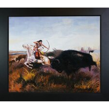 Russell Indians Hunting Buffalo Hand Painted Oil on Canvas Wall Art