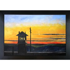 Railroad Sunset by Hopper Framed Original Painting
