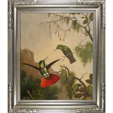 Heade Two Hooded Visorbearer Hummingbirds by Johnson Framed Original Painting