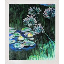 <strong>Tori Home</strong> Monet Water Lilies and Agapanthus Hand Painted Oil on Canvas Wall Art