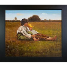 Boys in a Pasture by Homer Framed Original Painting