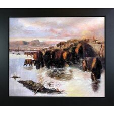 The Buffalo Herd Russell Framed Original Painting
