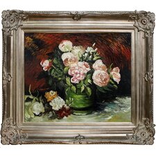 Bowl with Peonies and Roses Van Gogh Framed Original Painting