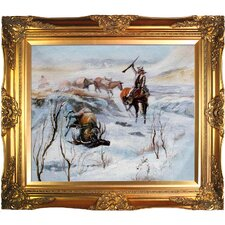 Christmas Dinner for the Men on the Trail Russell Framed Original Painting