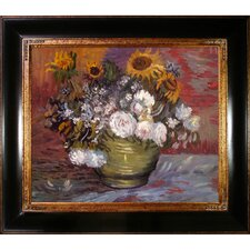 Sunflowers, Roses and Other Flowers Van Gogh Framed Original Painting