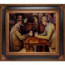 Card Players with Pipes Cezanne Framed Original Painting