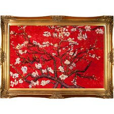 Branches Of An Almond Tree In Blossom Van Gogh Framed Original Painting in Red