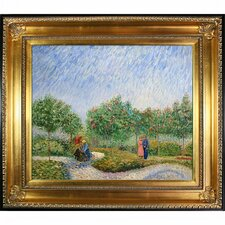Couples in the Voyer d Argenson Park at Asnierse Van Gogh Framed Original Painting