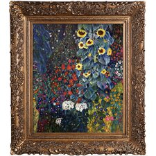 Farm Garden with Sunflowers by Klimt Framed Hand Painted Oil on Canvas