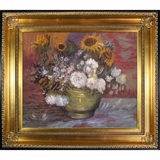 Sunflowers, Roses and Other Flowers by Van Gogh Framed Hand Painted Oil on Canvas