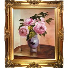 Bouquet of Peonies by Jacob-Abraham-Camille Pissarro Framed Hand Painted Oil on Canvas in Pink