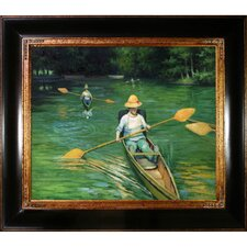 Skiffs on the Yerres by Caillebotte Framed Hand Painted Oil on Canvas