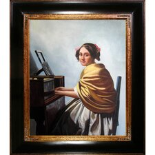 Young Woman Seated at the Verginals by Vermeer Framed Hand Painted Oil on Canvas