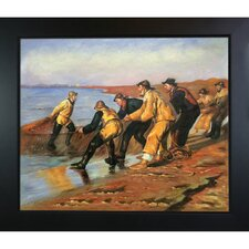 Fishermen Hauling Nets by Kroyer Blacksmith Framed Hand Painted Oil on Canvas