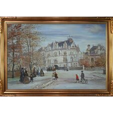 The Fletcher Mansion and New York City by Jean Francois Raffaelli Framed Hand Painted Oil on Canvas