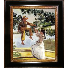 On the Fence by Winslow Homer Framed Hand Painted Oil on Canvas