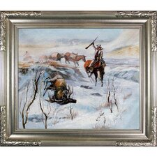 Christmas Dinner for the Men on the Trail by C. M. Russell Framed Hand Painted Oil on Canvas