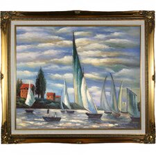 Regates at Argenteuil by Monet Framed Hand Painted Oil on Canvas