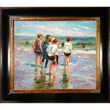 Summer Day and Brighton Beach by Potthast Framed Hand Painted Oil on Canvas