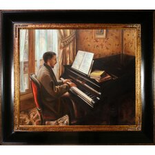 Young Man Playing the Piano by Caillebotte Framed Hand Painted Oil on Canvas