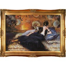 Lady with Fans, Portrait of Nina de Callais Manet Framed Original Painting