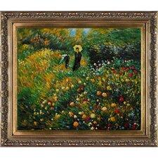 Woman with a Parasol in a Garden (Frau mi Sonnenschirm) by Renoir Framed Original Painting