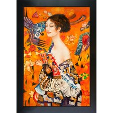 <strong>Tori Home</strong> Klimt Signora Con Ventaglio Interpretation Hand Painted Oil on Canvas Wall Art